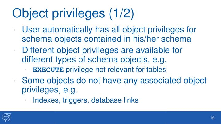Object privileges (1/2)
