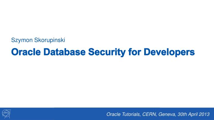 Oracle database security for developers