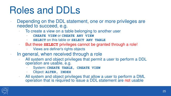 Roles and DDLs