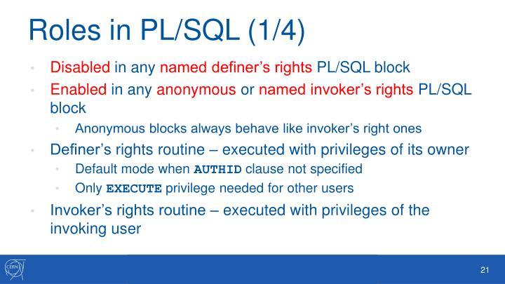 Roles in PL/SQL (1/4)