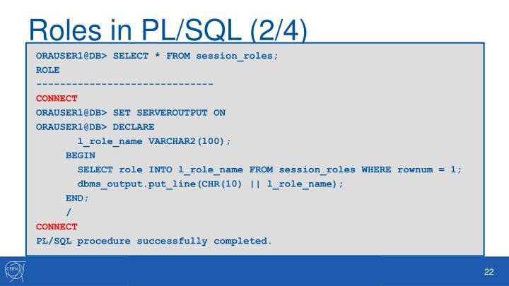 Roles in PL/SQL (2/4)