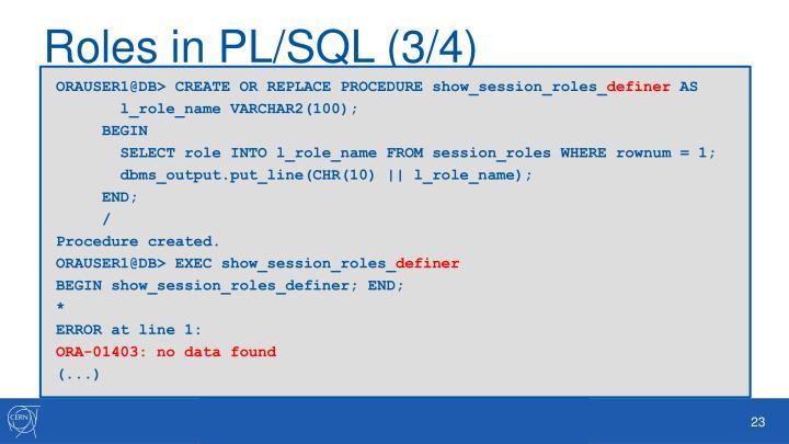 Roles in PL/SQL (3/4)