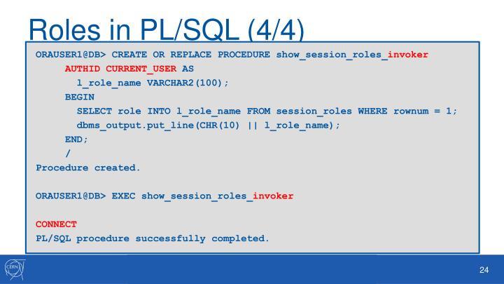 Roles in PL/SQL (4/4)