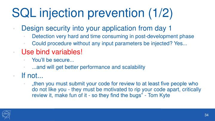 SQL injection prevention (1/2)