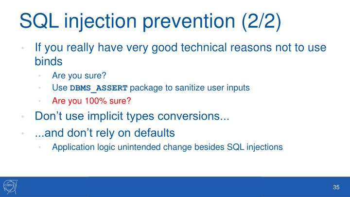 SQL injection prevention (2/2)