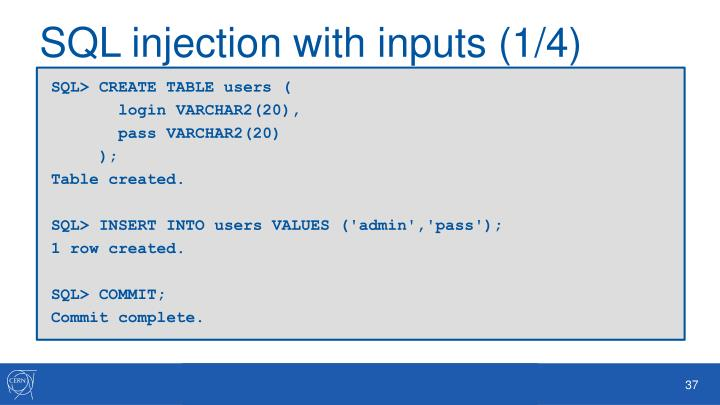 SQL injection with inputs (1/4)