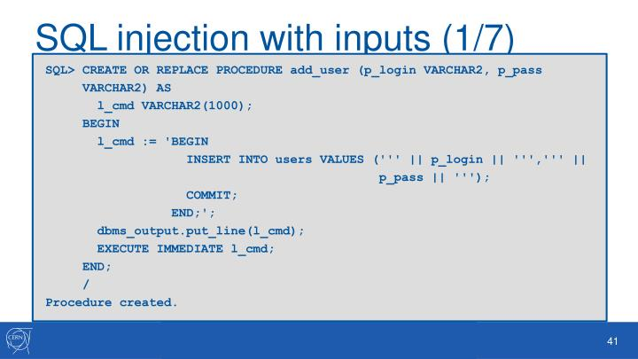 SQL injection with inputs (1/7)