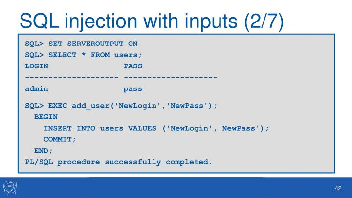 SQL injection with inputs (2/7
