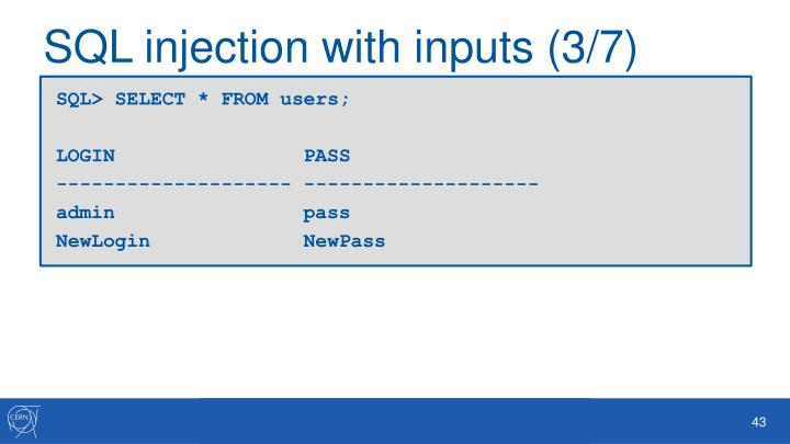 SQL injection with inputs (3/7