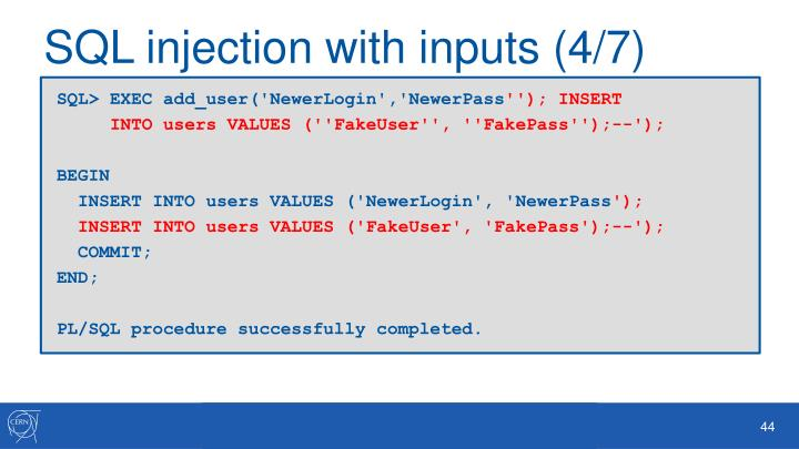 SQL injection with inputs (4/7