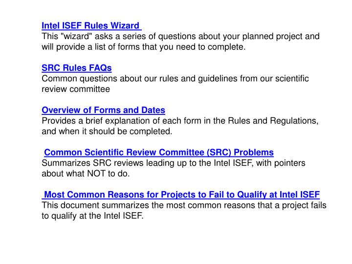 Intel ISEF Rules Wizard