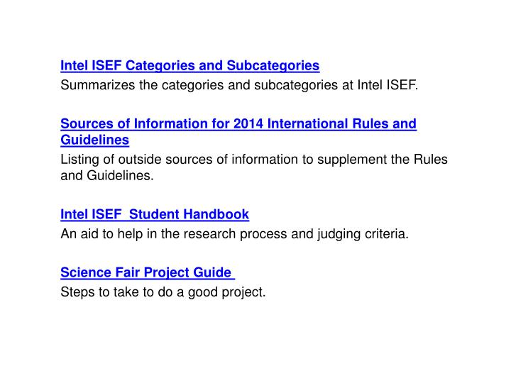 Intel ISEF Categories and Subcategories