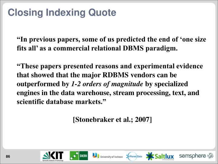 Closing Indexing Quote