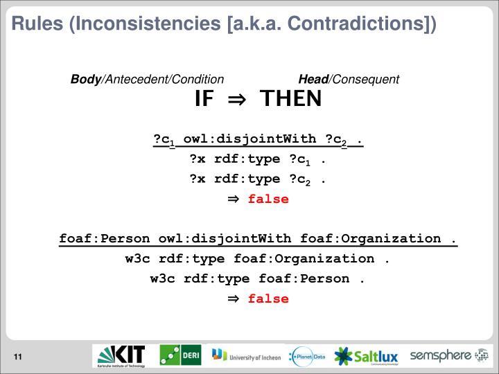 Rules (Inconsistencies [a.k.a. Contradictions])