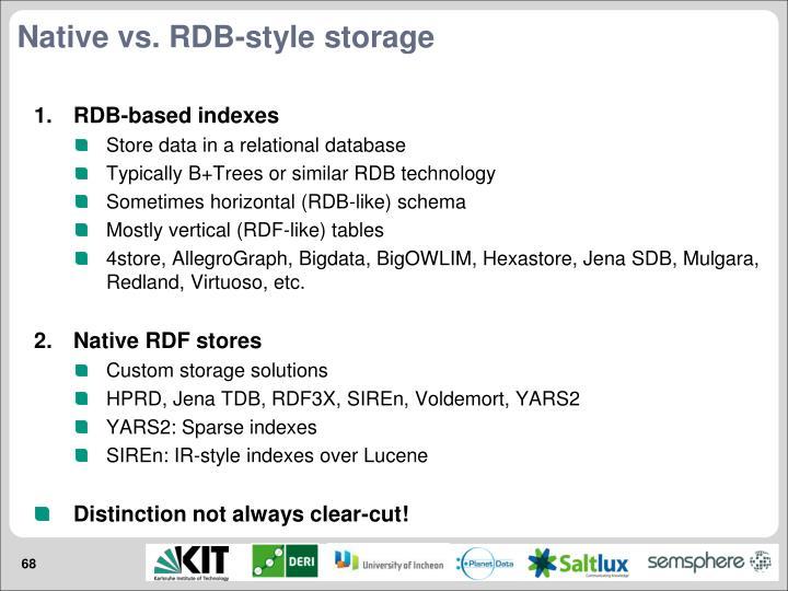 Native vs. RDB-style storage