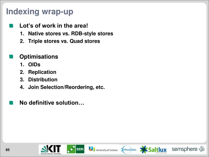 Indexing wrap-up