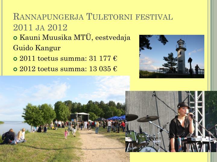 Rannapungerja Tuletorni festival 2011 ja 2012