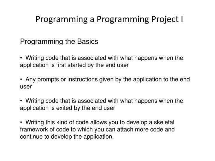 Programming the Basics
