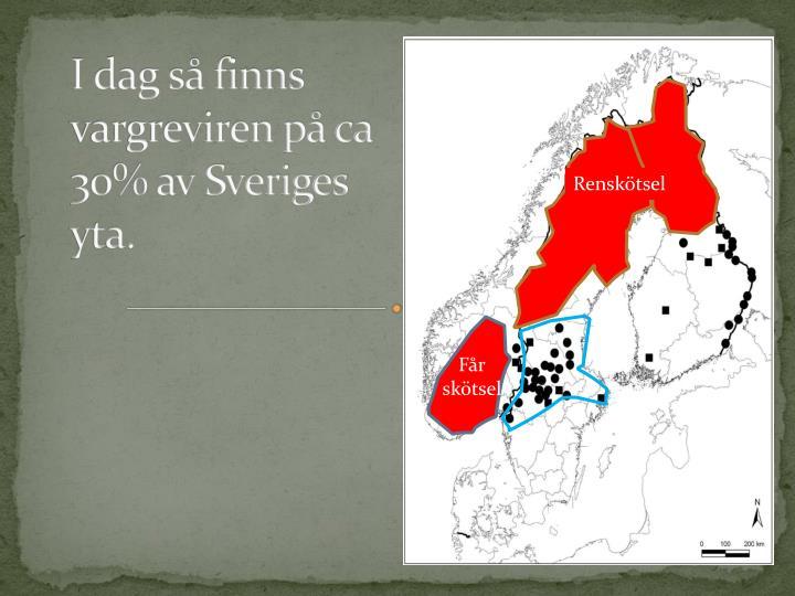 I dag så finns vargreviren på ca 30% av Sveriges yta.