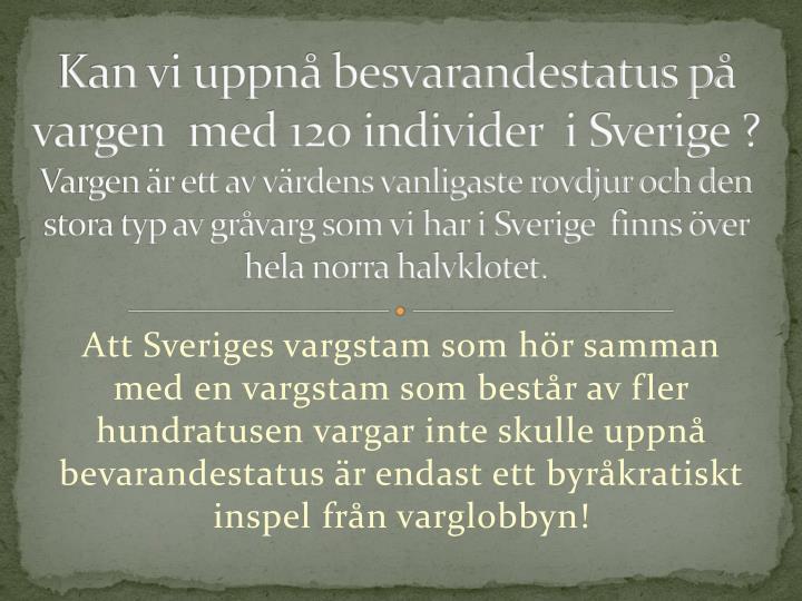 Kan vi uppnå besvarandestatus på  vargen  med 120 individer  i Sverige ?