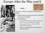 europe after the war cont d