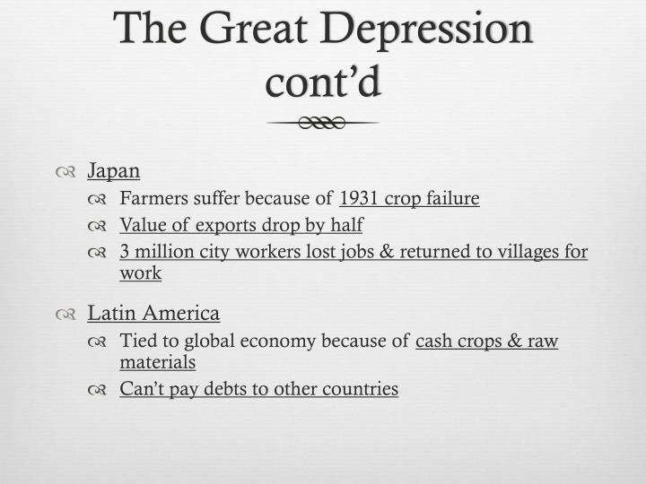 The Great Depression cont'd