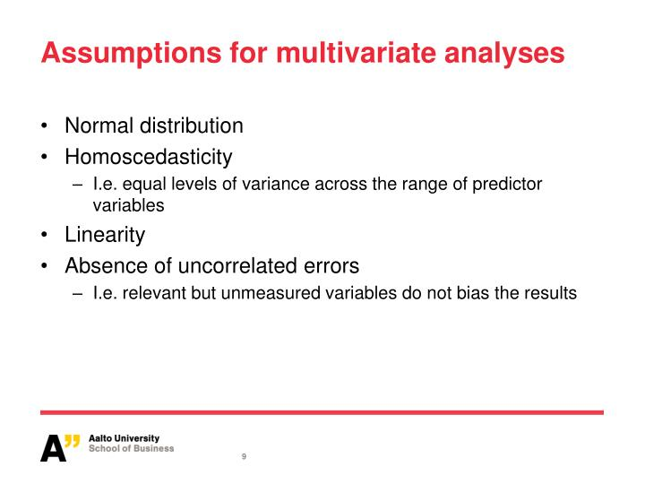Assumptions for multivariate analyses