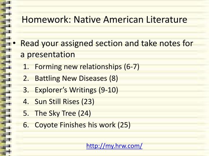 Homework: Native American Literature