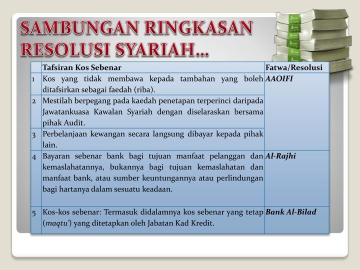 SAMBUNGAN RINGKASAN RESOLUSI SYARIAH…