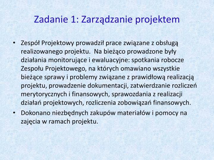 Zadanie 1: Zarządzanie projektem