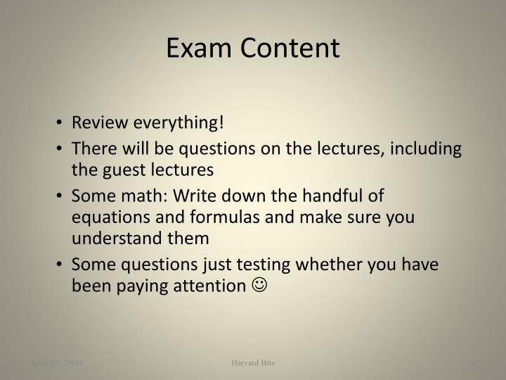 Exam Content