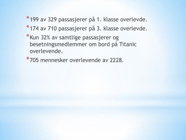 199 av 329 passasjerer på 1. klasse overlevde.
