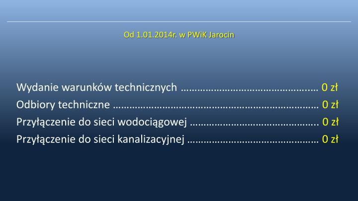 Od 1.01.2014r. w PWiK Jarocin