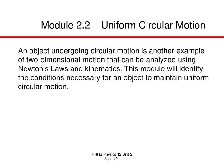 Module 2.2 – Uniform Circular Motion