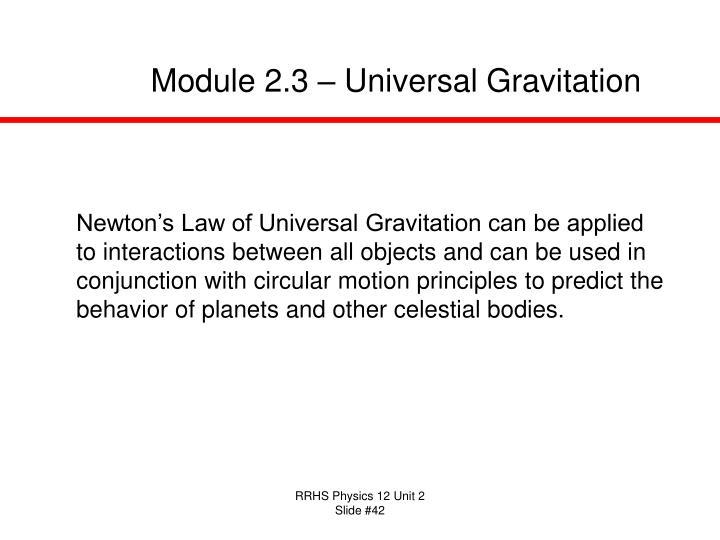 Module 2.3 – Universal Gravitation