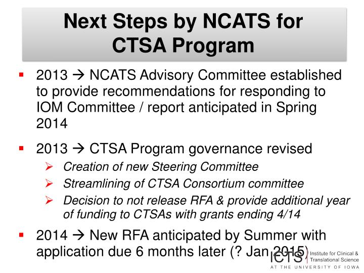 Next Steps by NCATS for