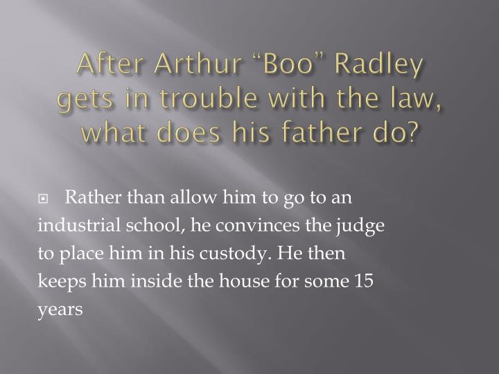 "After Arthur ""Boo"" Radley"