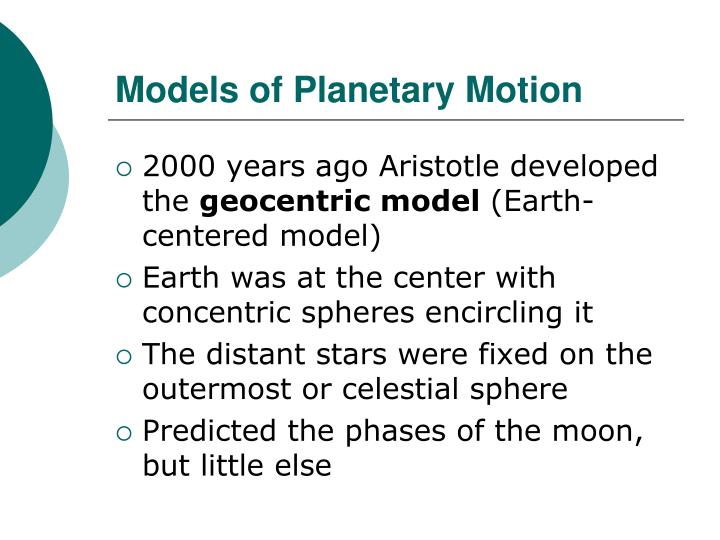 Models of Planetary Motion