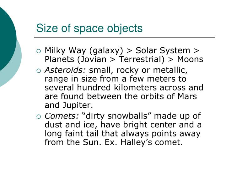 Size of space objects