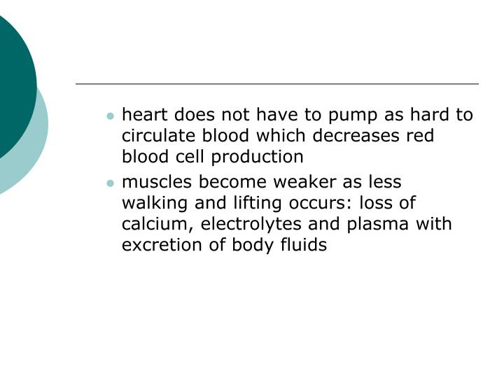 heart does not have to pump as hard to circulate blood which decreases red blood cell production