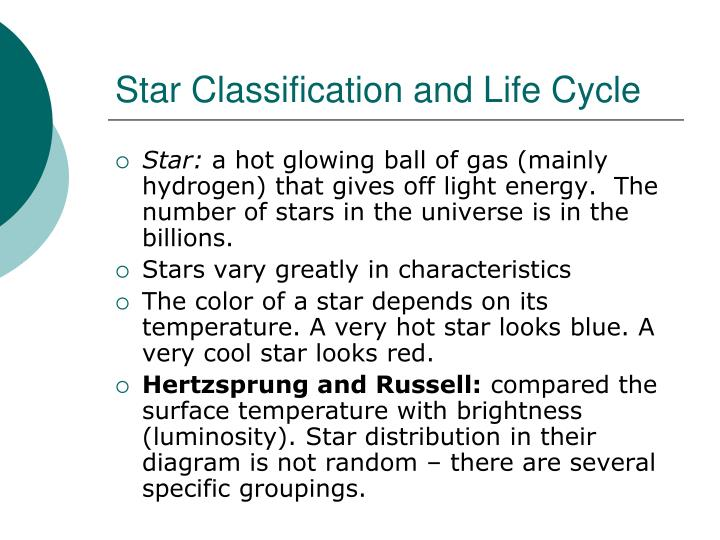 Star Classification and Life Cycle