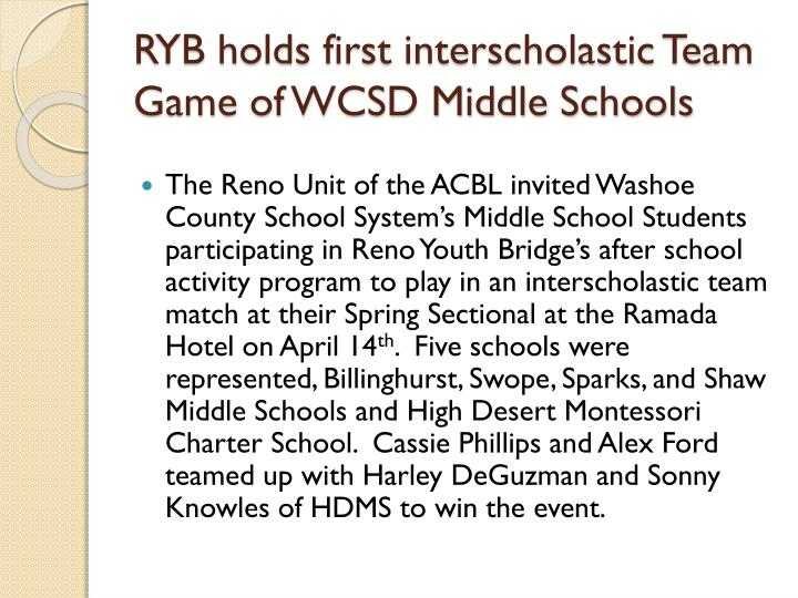 RYB holds first interscholastic Team Game of WCSD Middle Schools
