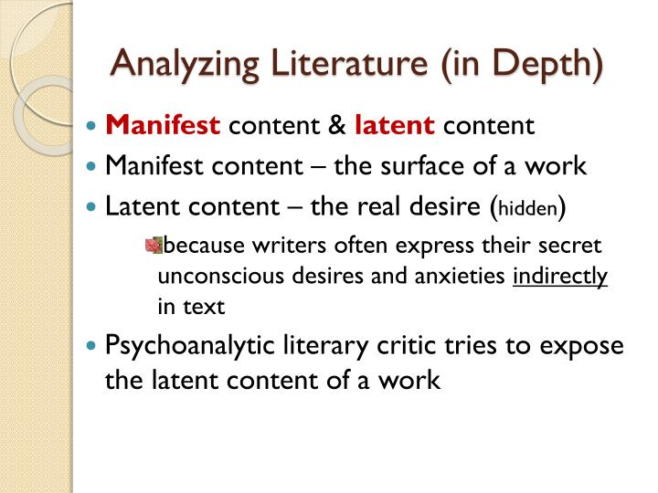 Analyzing Literature (in Depth)