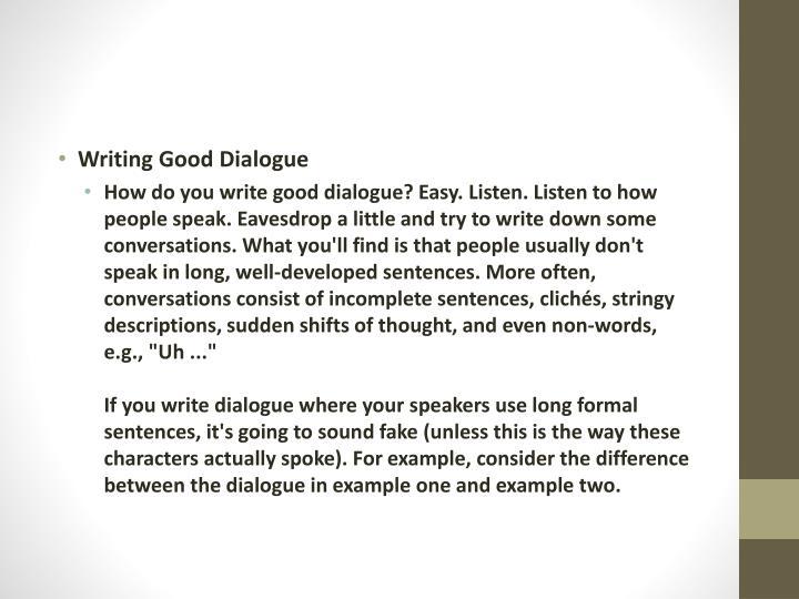 Writing Good Dialogue