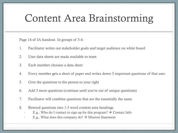 Content Area Brainstorming