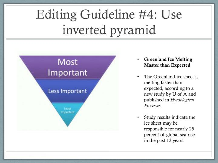 Editing Guideline #4: Use inverted pyramid