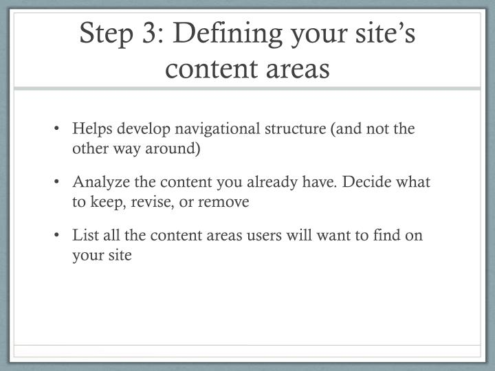 Step 3: Defining your site's content areas