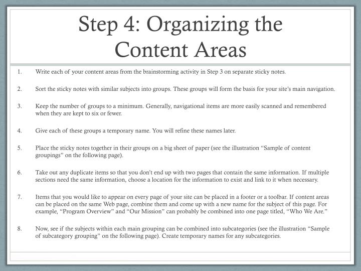 Step 4: Organizing the Content Areas