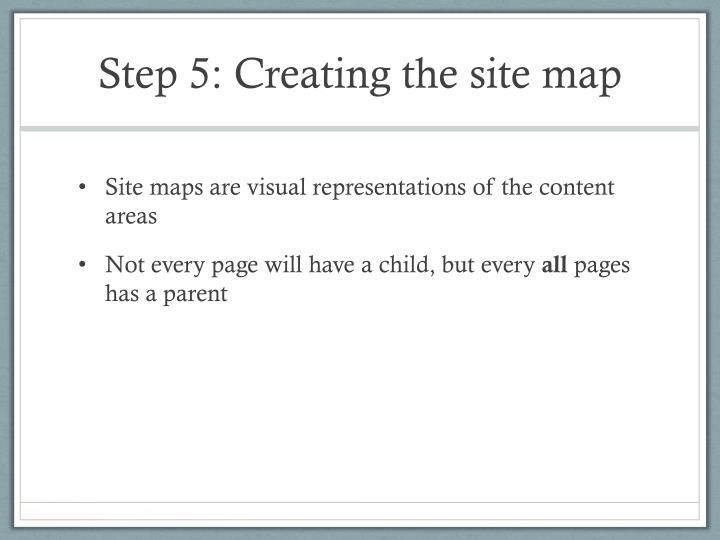 Step 5: Creating the site map